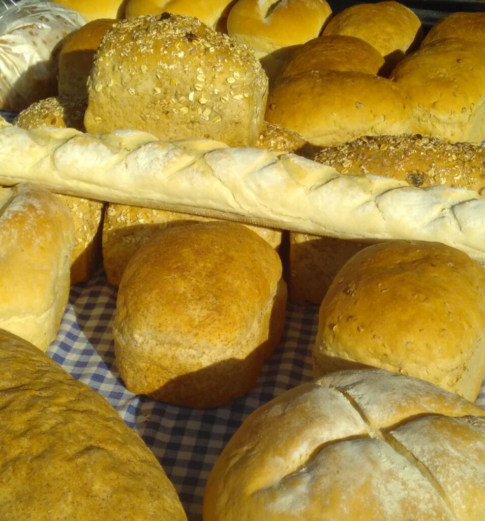 Locally basked bread on a market stall.