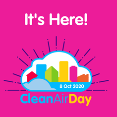 "graphic stating ""it's here! Clean Air Day 2020 8th Oct 2020"". Pink background."