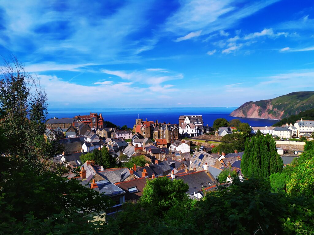 seaside town pictured on a sunny day with bright blue skies