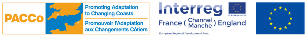 Two logos side by side. One: PACCo Promoting Adaptation to Changing Coasts (and in French) with the two locations pinpointed on a map. Two: Interreg, France (Channel Manche) England. European Regional Development Fund. With the European flag