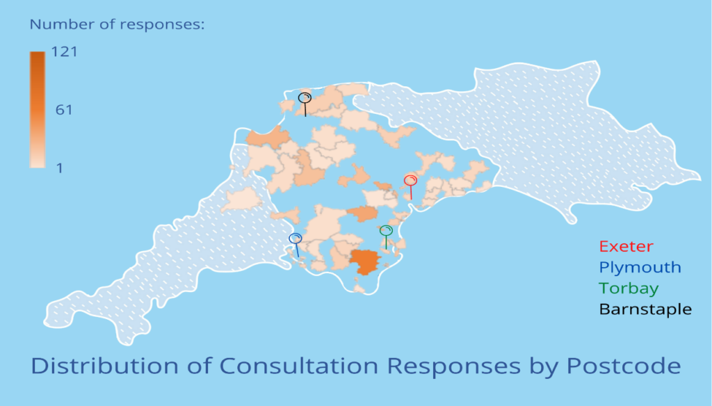 Map of the south west of England, with the postcodes respondents came from shaded in orange. Responses were not received from every postcode in Devon. Postcode TQ9, Totnes is shaded the darkest orange, with 121 responses. Between 54 and 72 responses were received from TQ12, EX39, EX4, TQ13. The remaining postcodes received between 1 and 50 responses each.