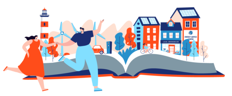 Man and woman frolic across screen in front of pop-up book with a city and parks coming out of it