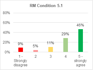 A bar chart showing support for roads and mobility condition 5.1. 46% strongly agree with it. 29% agree. 11% are not sure. 5% disagree. 9% strongly disagree.